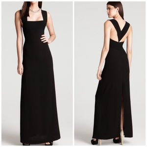 BCBGMaxAzria Black V-Back Square Neck Gown- Sz 6